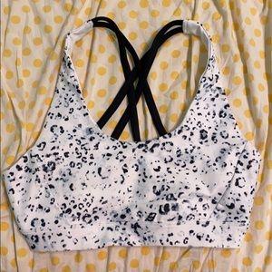 black and white cheetah print sports bra